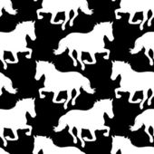 Vector seamless pattern with horses silhouette. — Stock Vector