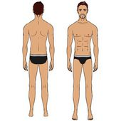 Caucasian standing man, full length portrait : front and back. — Stock Vector