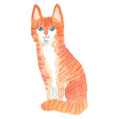 Watercolor-style vector illustration of cat. — Stockvector
