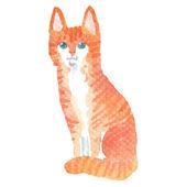 Watercolor-style vector illustration of cat. — Stockvektor