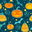 Halloween pumpkins seamless vector pattern. — Stock Vector