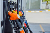 Horizontal shot of some fuel pumps at a gas station — Stock Photo