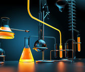 Chemical laboratory with glowing liquids — ストック写真