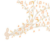 Beige notes are flying from violin clef on white fone. — Stock Photo