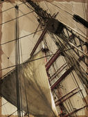 Masts of old-time sail ship. — Stockfoto