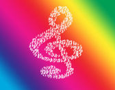 Music violin clef rainbow. — Stock Photo
