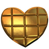 Golden heart isolated on white background — 图库照片
