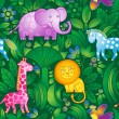 Bright seamless pattern with animals from the jungle. — Stock Vector