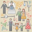 Vector set with happy families. — Stock Vector #38288983