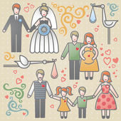 Vector set with happy families. — Stock Vector