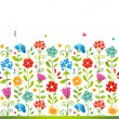 Bright floral seamless border with butterfly. — Stock Vector #38749309