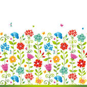 Bright floral seamless border with butterfly. — Stock Vector