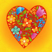 Large red heart with flowers on a bright seamless background. — Vector de stock