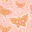 Seamless pattern with lacy butterflies, flowers and hearts — Stock Vector