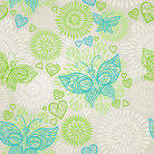 Seamless pattern with lacy butterflies, flowers and hearts — 图库矢量图片