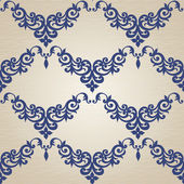 Seamless mönster med virvlar och blommotiv — Stockvektor