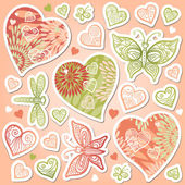 Set of hearts, butterflies and dragonfly — Stock Vector