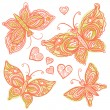Pink butterflies and hearts — Stock Vector #39594531