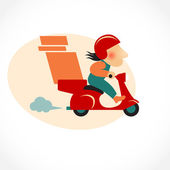 Funny pizza delivery man on red motorbike — Stock Vector