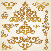 Vector set of scrolls and vignettes in Victorian style — Stock Vector