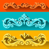 Vector set of scrolls and vignettes in Victorian style. — Stock Vector