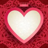 Cartão convite vintage com coração e motivos florais — Stok Vektör