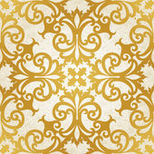 Vector seamless pattern with swirls and floral motifs in retro style. — Stock Vector