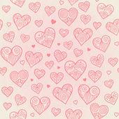 Prydnads seamless mönster med lacy hjärtan. — Stockvektor