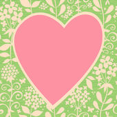 Large pink heart on a light seamless background with flowers — Vector de stock