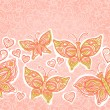 Pink seamless border with butterflies, flowers and hearts — Stock Vector