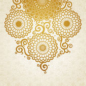 Golden pattern with large flowers and curls — Stock Vector