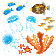 Vector set of tropical fishes, jellyfishes and coral — Stock Vector