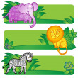 Bright cards with cute animals from jungle — Stock Vector