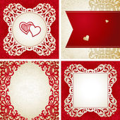 Template frame design for retro wedding card — Stock Vector