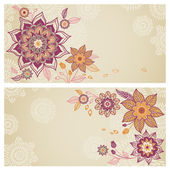 Vintage greeting cards with swirls and floral motifs in east style — Stock Vector