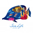 Marine life on background in the form of a fish. — Stock Vector