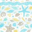 Bright seamless pattern with sea elements. — Stock Vector #42963709