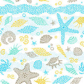 Bright seamless pattern with sea elements. — Stock Vector