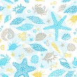Bright seamless pattern with sea elements — Stock Vector