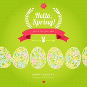 Happy Easter egg seamless border with hipster label — Stock Vector