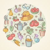 Vector set icons of hand drawn garden tools, vegetables and fruits — Stock Vector
