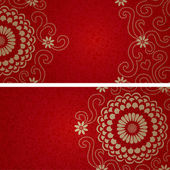 Greeting cards with swirls and floral motifs in east style — Cтоковый вектор