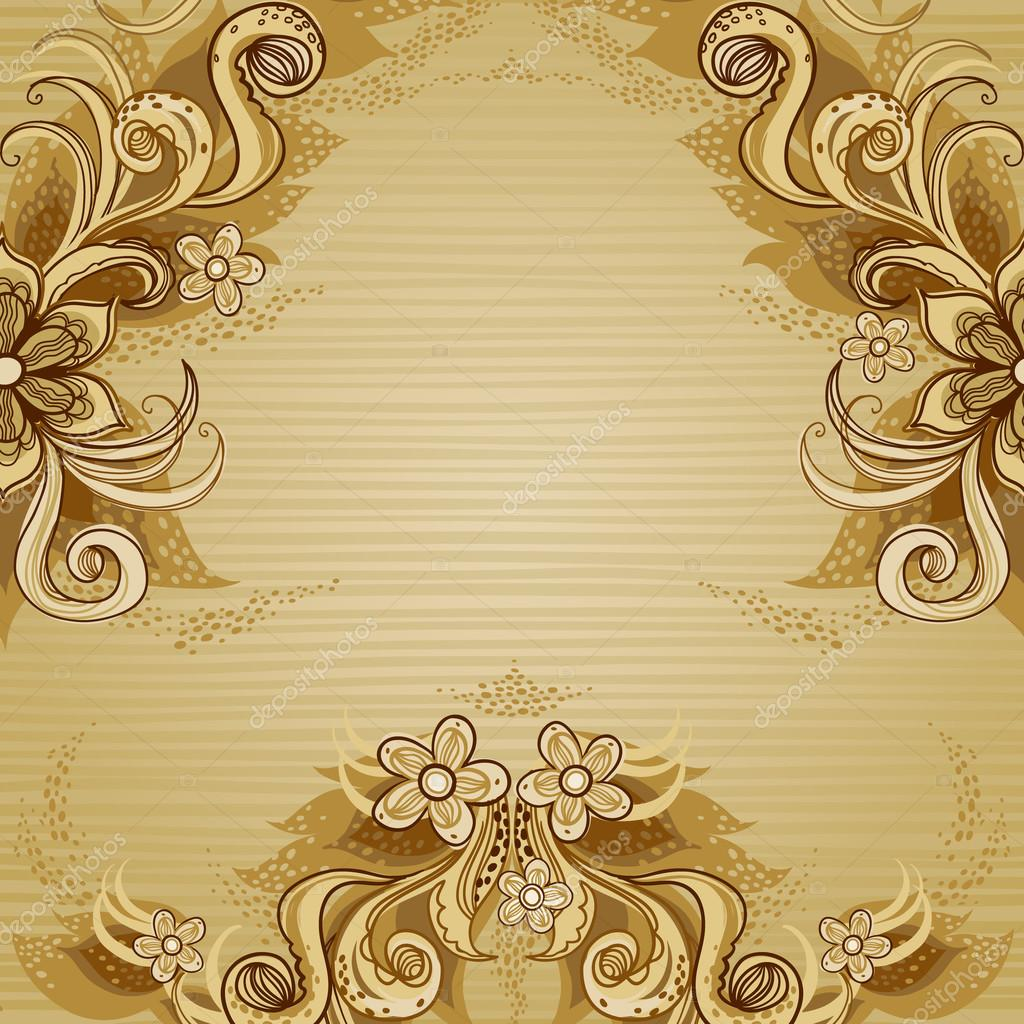 Floral Vector Border In Old Style Stock Vector