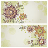 Vintage greeting cards with floral motifs in east style. — Stock Vector