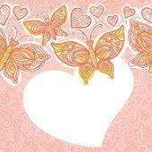 Fronteira sem costura com borboletas coloridas, flores e corações. — Vetor de Stock