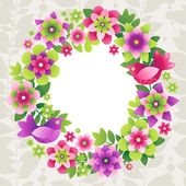 Wreath with colorful flowers. — Stock Vector