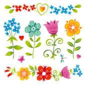 Set of bright  flowers. — Stock Vector