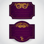 Labels with golden curls — Stock Vector