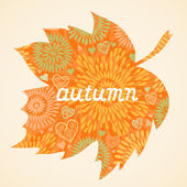 Autumn background in the form of a maple leaf. — Stock Vector