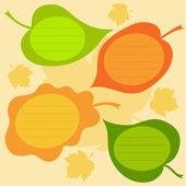 Vector set of autumn text frames in the form of leaves. — Stock Vector